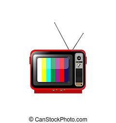 vieux, illustration., couleur, isolé, arrière-plan., vecteur, tv, blanc