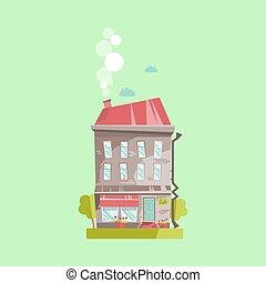 vieux, illustration., maison, isolé, variation, vecteur, façade, café, européen