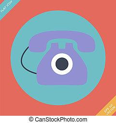 vieux, illustration., -, téléphone, vecteur, icône