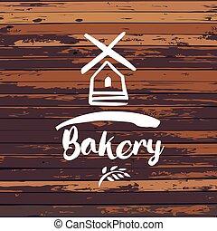 vieux, illustration., template., boulangerie, vecteur, conception, logo, éolienne