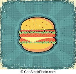 vieux, image, texture, papier, hamburger, poster.retro