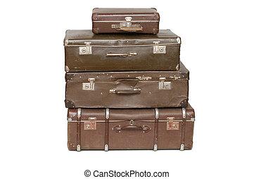 vieux, isolé, tas, valises, blanc