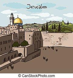 vieux, israël, jérusalem, horizon, ville