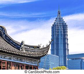 vieux, jardin, jin, shanghai, porcelaine, yuyuan, nouveau,...