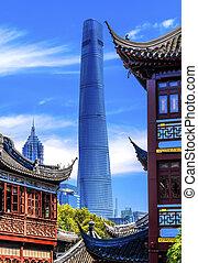 vieux, jardin, shanghai, porcelaine, yuyuan, nouveau, tour