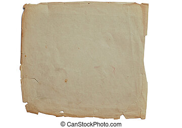 vieux, jaune, textured, papier, sur, blanc