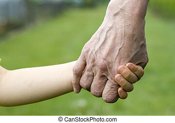 vieux, jeune, mains