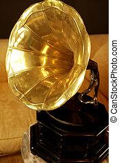 vieux, laiton, doré, phonographe