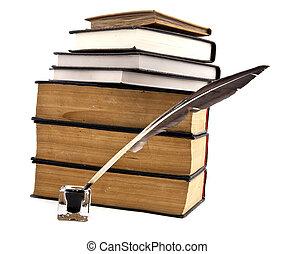vieux livres, ink-pot, et, plume