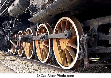 vieux, locomotive, roues, fin, haut., vapeur, train.