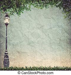 vieux, lumière, lampe, congé, poteau, rue, vert, papier, grunge, route