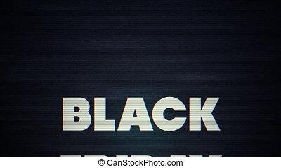 vieux, lundi, tv, grand, vendredi, -, vente, cyber, effet, faire boucle, animation, noir, texte, conception, 3d