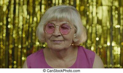 vieux, lunettes soleil, bon, portrait aîné, vie, humeur, ...