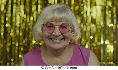 vieux, lunettes soleil, reussite, bon, personne agee, vie, ...