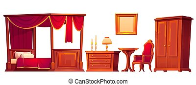 vieux, luxe, chambre à coucher, bois, meubles