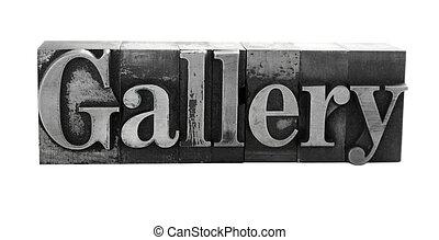 vieux, métal, galerie, lettres