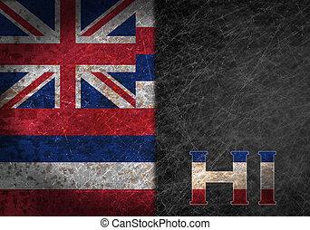 vieux, métal rouillé, drapeau, nous, signe, abréviation, ...