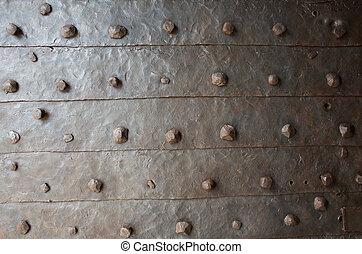 vieux, métal, texture, rouillé, forgé, rivets