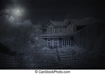 vieux, maison, dans, a, pleine lune, nuit