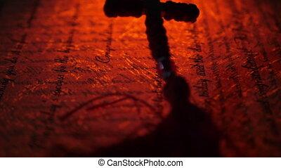 vieux, manuscrit, croix, haut, chrétien, fin