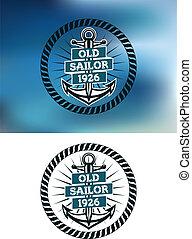 vieux, marin, nautique, écusson, themed