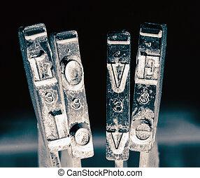 vieux, marteaux, amour, mot, machine écrire