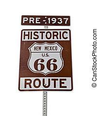 vieux, Mexique, parcours, isolé, signe,  66, nouveau