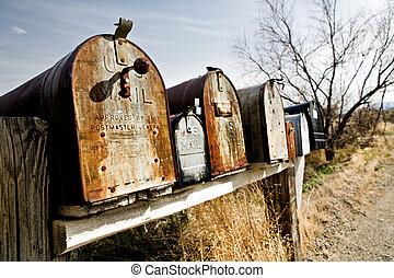vieux, midwest, boîtes lettres, usa
