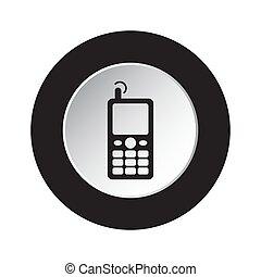 vieux, mobile, bouton, -, téléphone, noir, blanc, rond, icône