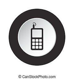 vieux, mobile, bouton, -, téléphone, noir, blanc, rond