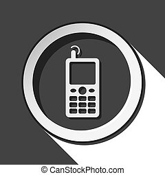 vieux, mobile, -, téléphone, noir, blanc, rond, icône