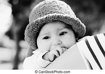 vieux, mois, 3, dehors, bébé, portrait
