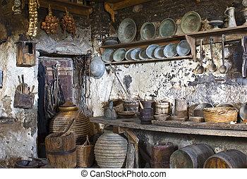 vieux, monastère, intérieur, traditionnel, grec, meteora, cuisine