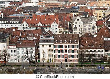 vieux monde, ville, architecture, de, bâle