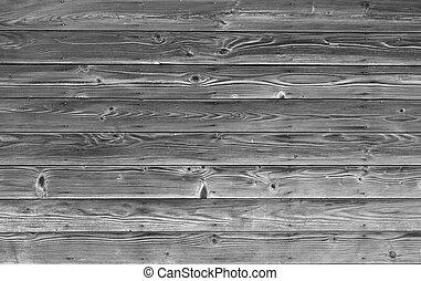 vieux, &, mur, bois, noir, blanc