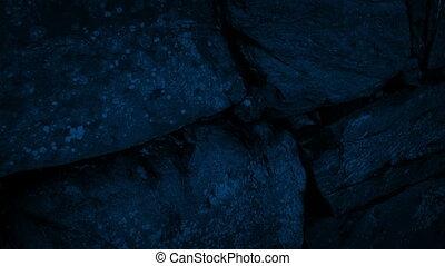 vieux, mur, nuit, en mouvement, rocher, long