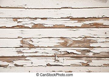 vieux, mur, peinture, bois, toqué, blanc