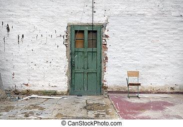 vieux, mur, porte verte, brique blanche