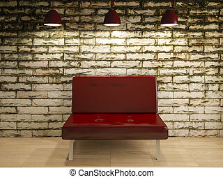 vieux, mur, sofa, rendre, intérieur, chaise, conception, 3d