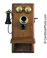vieux, mur, téléphone