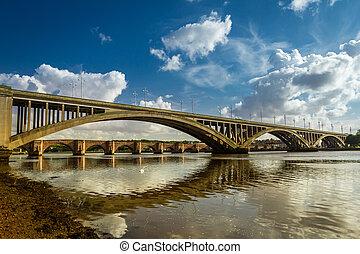 vieux, nad, nouveau, ponts, dans, berwick-upon-tweed