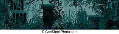 vieux, nature, arrière-plan., forêt, tropique, horizontal
