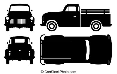 vieux, noir, vecteur, illustration, camion, pick-up, icônes