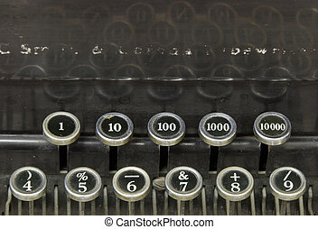 vieux, nombres, machine écrire
