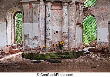 vieux, novgorod, région, abandonné, église, intérieur, russie
