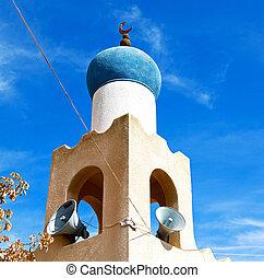 vieux, oman, clair, mosquée, muscat, religion, minaret, ciel
