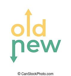 vieux, opposé, flèches, typography., manière, directions, nouveau
