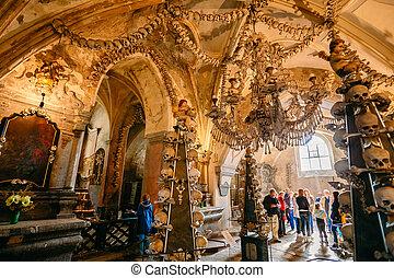 vieux, os, et, crânes, dans, sedlec, ossuaire, (kostnice), kutna, hora, c