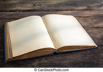 vieux, pages, bois, fond, vide, livre ouvert