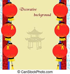 vieux, pagoda chinois, lanternes, papier, asiatique